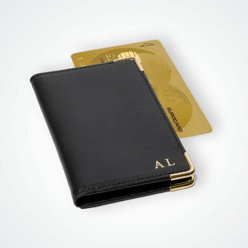 Porte carte bancaire coins dorés  cuirs maroquinerie